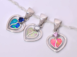 Wholesale & Retail Fashion Jewelry Fine Blue&White&Pink Fire Opal Stone Silver Plated Pendants For Women PJ16011713