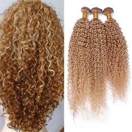 Acheter en ligne 24 profonds faisceaux de cheveux bouclés-8A Malaisie Honey Blonde Cheveux Humains Bundles 3Pcs 27 Blonde Deep Curly Virgin Cheveux Extensions 8A Kinky Curly Blonde Hair Tresses