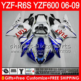 8Gifts 23Colors Body For YAMAHA YZF R6 S YZFR6S 06 07 08 09 57HM16 blue white YZF600 YZF R6S 06-09 YZF-R6S 2006 2007 2008 2009 Fairing kit