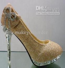 Chaussures habillées pour les femmes prix en Ligne-Vente en gros livraison gratuite prix d'usine nouvelle robe de style or bowknot chaussures de mariage en diamant chaussures sexy femme