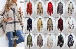 Wholesale New Autumn Winter woman big girls classic plaid cloak High collar shawl Poncho fashion Loose plaid Bat shawl DHL ship
