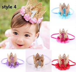 8 style available ! Pale Pink Birthday Crown headband for girl Birthday party Girl gold Crown headband hairband for hair Accessories 15pcs