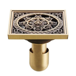 Wholesale 4 quot cm Euro Square Antique Brass Art Carved Flower Bathroom Sanitary Floor Drain Waste Grate New drain sink HJ S