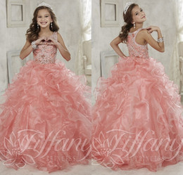 Gorgeous Beaded Crystal Girls Pageant Dresses 2016 Sparkly Ruffled Organza Ball Gown Girls Birthday Prom Gowns Fast Delivery