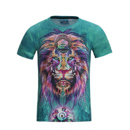 Hiphop Coats Mens T Shirts 3D Lion Printing Tops Tees Overcoat Short Sleeve Streetwear Breathable Sweat New Fashion 2017 Green