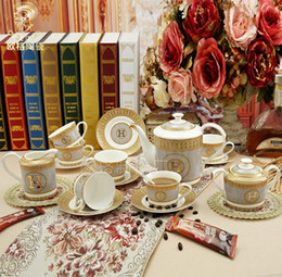 Wholesale Hotsales quot H quot Mark European Porcelain Coffee Tea Cup Sets With Pot And Saucer ECO Friendly Drinkware Dining Bar Kitchen
