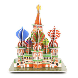 Wholesale D Mini Word s Great Architecture Puzzle Children DIY Construction Building House Early Education Toys Creative Room Decorated
