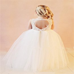 2017 New Flower Girl Dresses for Wedding Lace Tulle Little Girls Kids Child Dress Keyhole Back Party Pageant Communion Dress