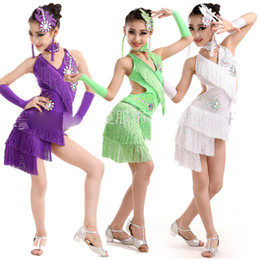 Children's Sequined Salsa Latin dance Dress costumes Clothing Girls Party Dress Kids Stage Dance Wear Clothing free shipping