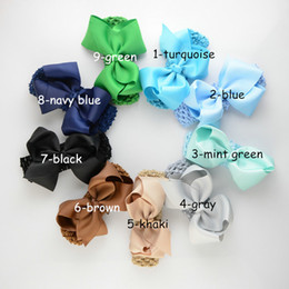 free shipping 20pcs lot 19 Color Big Bowknot Lace Elastic headband With flower for Kids Hair Alloy Rhinestones New Baby Headwear FD71