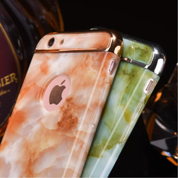 Wholesale Luxury Glossy Granite Marble Stone image Case For Apple iphone S PLUS Plus in Plating Shockproof Armor Phone Cover