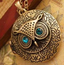 2017 boîtes à bijoux dames Owl pendentif collier de bijoux plus récent boîte ronde Vintage Owl collier rétro collier pour dame femmes Xmas Festive cadeau bon marché boîtes à bijoux dames
