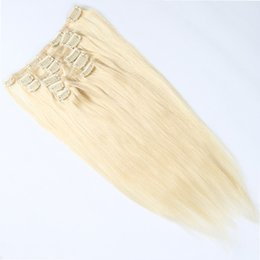 Direct Factory Price Brazilian Remy Clip In Human Hair 7pcs set 16clips #613 Blonde Straight Clip In On Hair Extension Dyeable Free Shipping