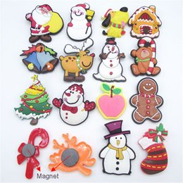 Wholesale Snowman Fridge Magnets - Christmas Santa Claus Snowman Fridge Magnet Cute Cartoon Refrigerator Christmas Decorations Party Home Crystal Glass Fridge Magnets