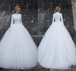 Novias musulmanes vestidos simples en Línea-Vestidos de novia de la Arabia Saudita Vestidos de novia 2017 Vestidos de novia