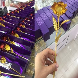 Wholesale Gold Foil Rose Valentine s Day Mother s Day Gift Lover Golden Rose Gift box Wedding Present Party Artificial Flower Crafts XL G51