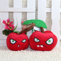 Wholesale cm Fruit Double Two Twin Cherry Bomb Plush Toy Doll Games Baby Kid Gift Cute Fast Delivery Good Quality Red Apples