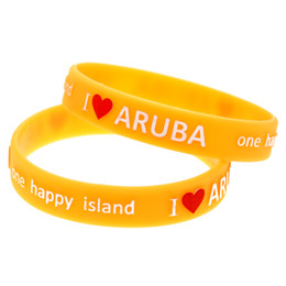 Wholesale Shipping 100PCS Lot Embossed Logo I Love Aruba A happy Island Silicon Bracelet Promotion Gift
