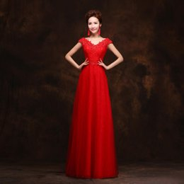Gorgeous type A front lace shoulder floor-length white gauze red evening dress
