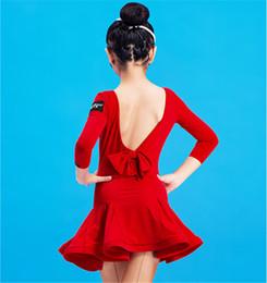 Services de l'équipe en Ligne-NOUVELLE robe de danse de danse latine pour enfants Robe sexy sans dossier Rumba Tango Sasa Samba tenue de salle de spectacle