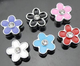 50pcs lot 8mm rhinestones flower Slide Charms diy charm accessories Fit for 8mm phone strips keychains