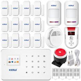 Wholesale KERUI G18 home office Gsm sms Alarm system Door sensor smoke LPG detector Security Home IOS Android App DHL