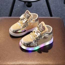 Wholesale Kids Girls Shoes Spring Autumn Winter Children s Sneakers Boy Shoes Chaussure Enfant Hello Kitty Baby Shoes With LED Light