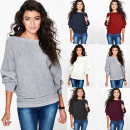 Compra On-line Senhoras jumpers casuais-1 Piece New Moda Mulheres Loose Knitted Batwing manga Jumper Sweater Ladies Casual Knitwear Tops 6 cores CL194