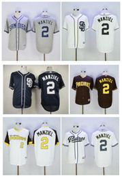 2017 johnny manziel jerseys Qualité supérieure ! San Diego Padres Jersey # 2 Johnny Manziel Maillots Blanc Gris Bleu Cool Base Stitched Authentic Baseball Jersey Broderie Logo johnny manziel jerseys pas cher