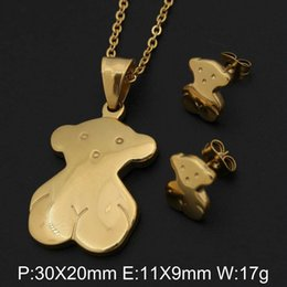 Wholesale Bear Stainless Steel Jewelry Set with Pendant Necklace and Earrings For Women Gift Colors High Quality