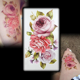Wholesale Hot Flashes Temporary D Tattoos Scar DIY Temporary Tatoo Flowers ROSE TATTOO D Dazzle Colour Waterproof Body Art D Tattoo