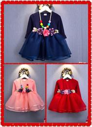 Pequeñas faldas de los niños en Línea-El espesamiento y el calentamiento Las niñas se visten con vestido de otoño pequeño y el invierno de manga larga de cachemira princesa falda falda de baile engrosado