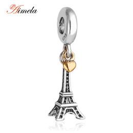Compra Online Corazón del oro de la pulsera 925-La plata esterlina de AIMELA 925 al por mayor con el oro 14k plateó la torre Eiffel del corazón cuelgan los encantos para las mujeres Las pulseras DIY que hacen la joyería Er409