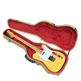 Factory Custom Electric Guitar with Yellow Body and White Pickguard,Vintage Knobs,In Old Style,with Case