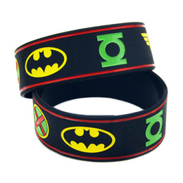 50PCS Lot Justice League Of America Silicone Bracelet With: Batman, Superman, Green Lantern, The Flash, Wonder Woman, Aquaman