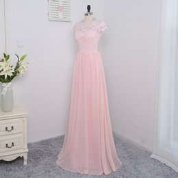 2017 Pink Sheer Cap Sleeves Bridesmaid Dresses A-line Chiffon And Lace Long Floor Length Maid Of Honor Gowns For Weddings Guest