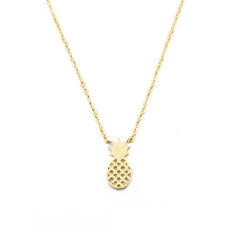 Wholesale 10Pcs lot Hot Sale 2017 Fashion Summer Stainless Steel Jewelry Pendant Tiny Pineapple Gold Chains Choker Necklaces for Women