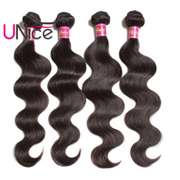 UNice Hair Brazilian Body Wave 4 Bundles Per Lot 8-30inch Mix Length Virgin Human Hair Extensions Wholesale Unprocessed Hair Products