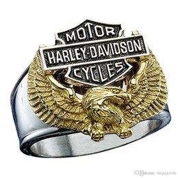 Wholesale Hot European and American retro titanium steel HD style motor stainless steel ring eagle motorcycles finger ring