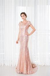 2018 New Rose Gold Sequins Short Sleeve Women Prom Dresses Mermaid Beads Lady Evening Gowns Long Trumpt Red Carpet Dress
