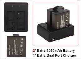 Wholesale 2Pcs mah Rechargeable Battery Charger Dual Travel Charger For EKEN H9 H9R H3 H3R H8PRO H8R H8 pro SJCAM SJ4000 SJ5000 Sports Camera