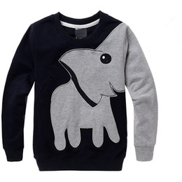 long sleeve boys swearshirt high quality elephant print gray black colors kids clothing tops children hot selling t-shirts fast shipping
