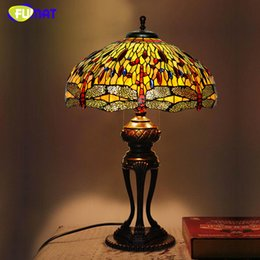 Wholesale Creative Tiffany Table Lamp Antique Dragonfly Living Room Table Lamp LED Stained Glass Lamp Office Studio Stand light