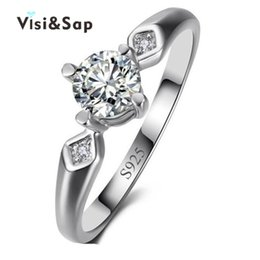 Visisap White gold color Rings For women Wedding anel cubic zirconia Euramerica style fashion jewelry VSR001