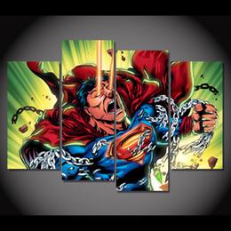 Break fotografías en Línea-4 PC / marco enmarcado HD impresa Superman romper la cadena de imagen de la pared de arte Lienzo Impresión Decoración lona lona moderna pintura al óleo