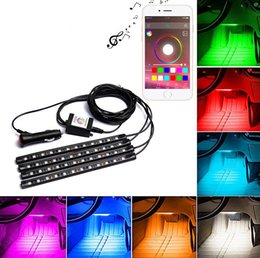 Wholesale 4pcs LED Car Interior Underdash Lighting Kit smart Sound Activated Control Atmosphere Lamp Strip Glow Neon Wireless control Lights