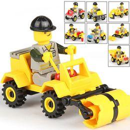 2016 al por mayor de la ingeniería Venta al por mayor-Modelo de Kits de construcción de vehículos de ingeniería de tráfico de coches juguetes educativos pequeñas partículas de niño montado Bloque de construcción barato al por mayor de la ingeniería