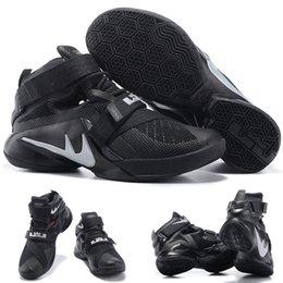 Cheap Sale Wholesale Hot Sale Air LeBron Zoom Soldier 10 James Black Argent 749417 001 Hommes Blacketball Shoes EUR 40-46 à partir de soldats lebron noir fabricateur