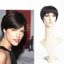 Short Hair Cuts Human Hair Wigs For Men Women 6inch Short Bob Straight Machine Made Lace Front Wig Angel Wave Hair