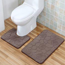 2017 ensembles de toilette en coton 2 Pieces / Sets 40 * 50CM + 50 * 80CM Tapis lavable Salle de bain WC Toilette Douche Tapis Tapis Coton Soft Bath Mats ensembles de toilette en coton sur la vente